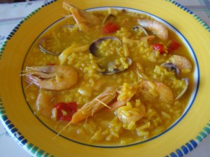 rice dish with seafood. Car Hire Alicante